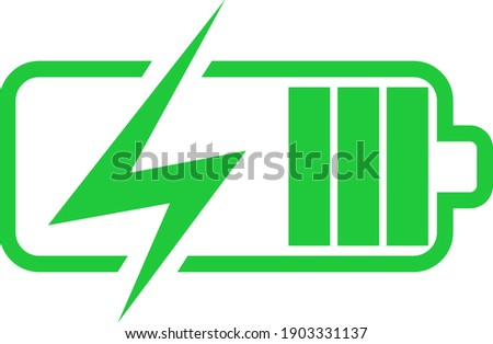 Battery charge icon, vector electrical power charger. Flat accumulator charge icon for smartphone. Foto stock ©