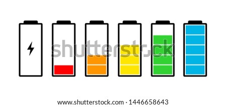 Battery charge indicator icons set. Charging level full power low to high up and electric plug. Gadget energy status vector illustration