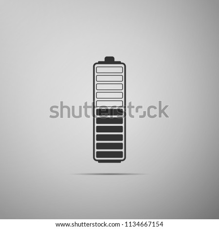 Battery charge level indicator icon isolated on grey background. Battery charging - power sign. Electricity symbol - energy sign. Flat design. Vector Illustration