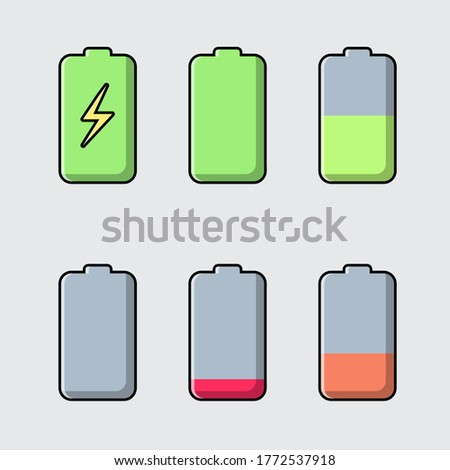 Battery charge level indicator set. Vector illustration design. Isolated on grey background.