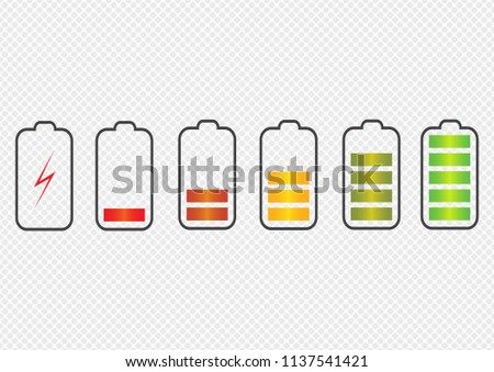 Battery charge state indicator icons. Set with different levels of charge phone's battery. Vector illustration.