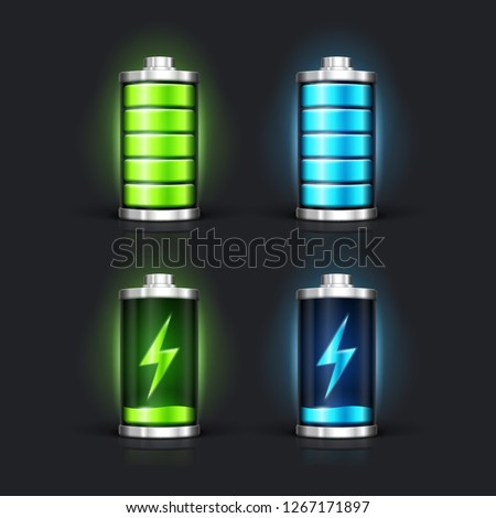 Battery charge status with lighting. Full battery and charging battery. Vector illustration.