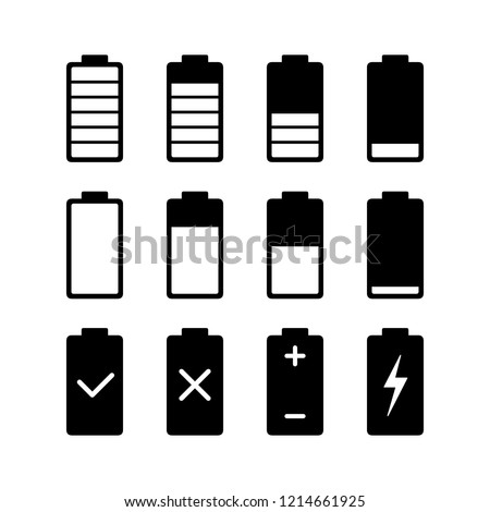 Battery charge with white color Indicator level glyphs icons, vector flat design signs isolated on white background