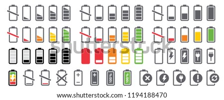 Battery charging charge indicator. Vector icon level Battery Energy powerfully full. Power running low up status batteries set logo Charge level empty loading bar Gadgets alkaline tags. Nearly there. ストックフォト ©