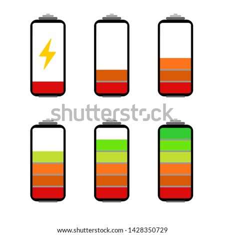 Battery charging flat icon. Battery level indicator. Status. Battery icon. Electric battery vector. Vector set of batteries in charging mode. Rechargeable batteries