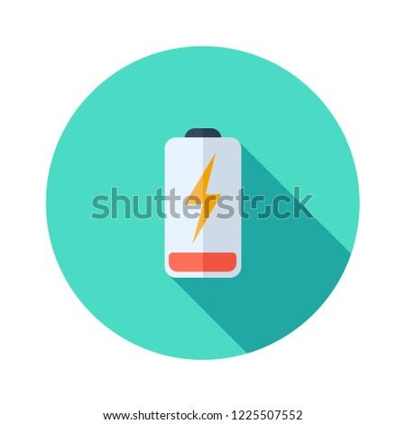 Battery charging flat icon. Battery level indicator. Status. Electric battery vector. Battery, lithium, metal, accumulator, acid, alkaline, art, sign, symbol, black,