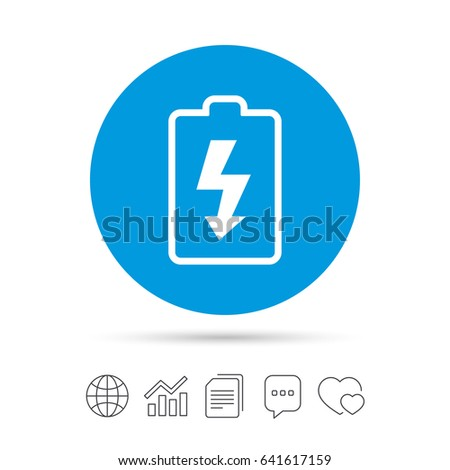 Battery charging sign icon. Lightning symbol. Copy files, chat speech bubble and chart web icons. Vector