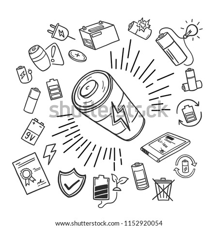 Battery element icon doodle was drawn by hand on the tablet. Vector illustration.