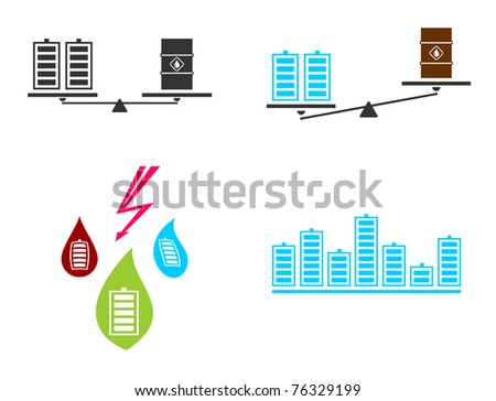 Battery fuel electricity. Vector illustration