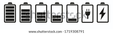 Battery icon set. Battery charging indicator icons. Alkaline battery capacity sign. For smartphone battery pack sign and symbol.