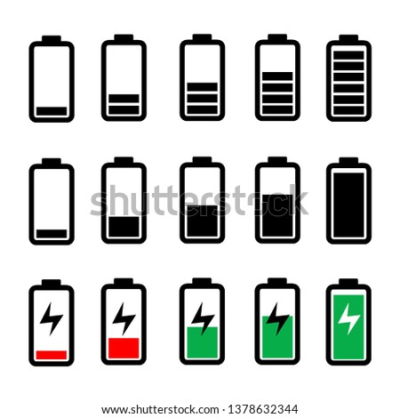 Battery icon set, collection of battery charger illustration