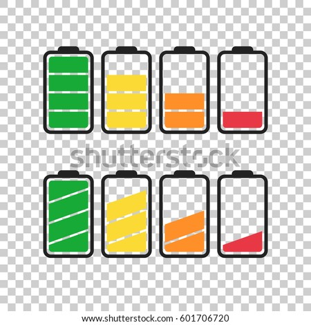 Battery icon vector set on isolated background. Symbols of battery charge level, full and low. The degree of battery power flat vector illustration.