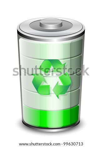 Battery icon with recycle sign, renewable energy concept. Vector