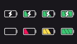 Battery icons. Charge level, UI design elements of battery. Full low and empty battery status. Set of smartphone battery charge level indicators.