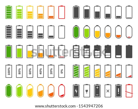 Battery icons. Charging level batteries charge indicator, alkaline tags rechargeable levels. Full, low and empty battery vector cell percentage charger power bar set