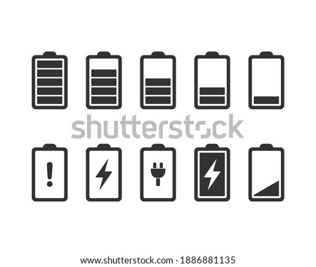 Battery icons. Full, low, and empty battery status. Set battery power from low to full charging. Warning battery status. Vector design illustration. Stock photo ©