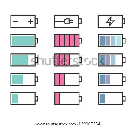 Battery icons set for interface in pastel colors