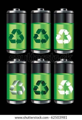 Battery icons with recycle symbols isolated on black. EPS10 vector format.