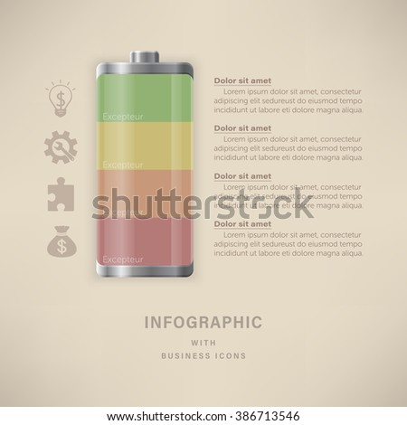 Battery infographic 4 options 4 colors with business icons.Template for presentation, paper, chart, project and report.
