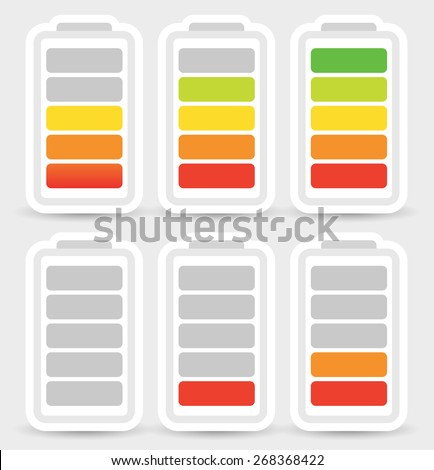 Battery level indicator symbol set from low to high. No energy, charge, recharge battery symbols in sequence. Power consumption, generation, conservation.