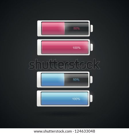 Battery levels set in two colors - stock vector