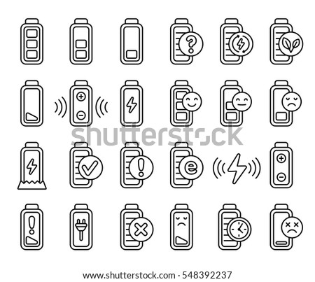 battery life flat line icons
