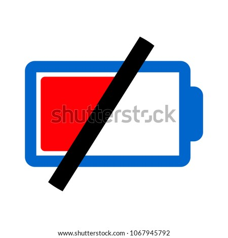 Battery low icon, battery charge - battery empty illustration, battery symbol