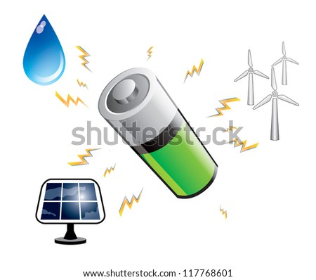 Battery power accumulation from main renewable energy sources, abstract concept. Vector illustration isolated on white background