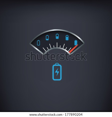 Battery power meter vintage gauge with range from full to empty. Eps10 vector illustration