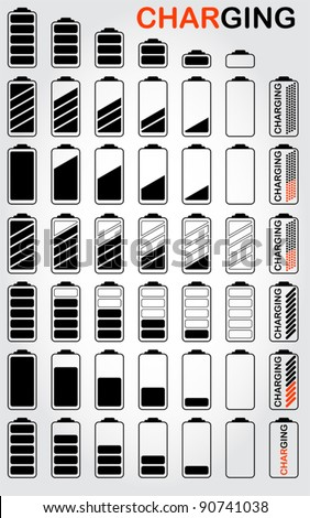 Battery set, vector - stock vector