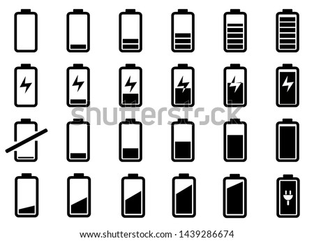 Battery symbol collection vector, set of battery icon design in white background