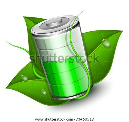 battery with green leaf eco energy concept vector illustration 93460519 shutterstock. Black Bedroom Furniture Sets. Home Design Ideas
