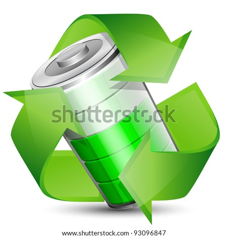 Battery with recycle symbol - renewable energy concept. Vector illustration