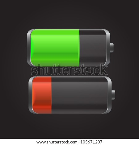 Battery with the level of charge and reflection green and red. Can be used for web-sites, in different interfaces, laptops, etc. Vector illustration.