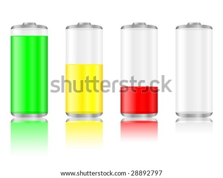 Battery with the level of charge and reflection. Vector illustration.