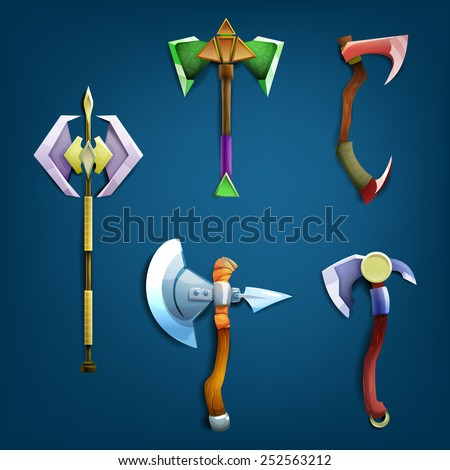 battle axes set vector