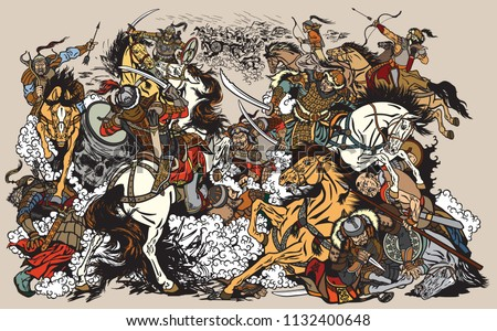 Battle between Mongols clans and tribes .Time of Genghis Khan .Medieval Asian cavalry warriors fighting with swords and nomads archery shooting a bow and arrows. . Graphic style vector illustration