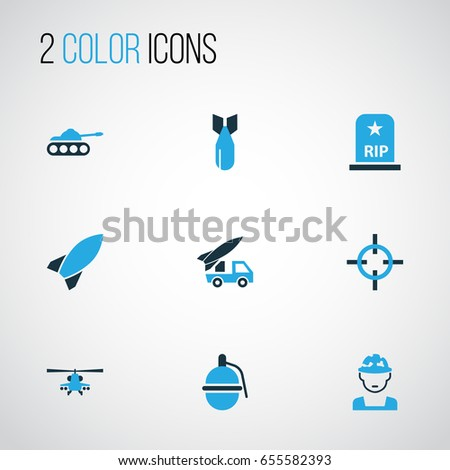 battle colorful icons set