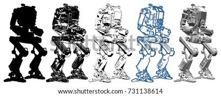 battle combat robot vector 02