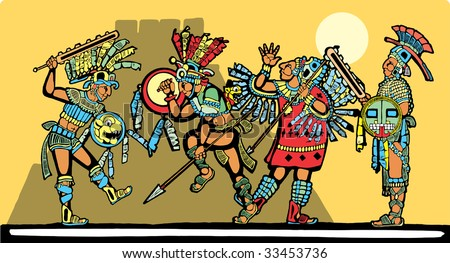 Battle for sacrifices inspired by Mayan Murals.
