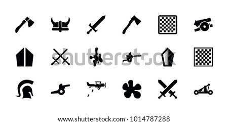 Battle icons. set of 18 editable filled battle icons: chess board, paintball, sword, axe, knight, catapult, helmet, cannon