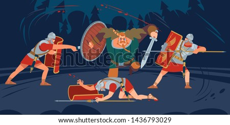 Battle of Romans and barbarians. Celts, Germans, Thracians, Dacians, Getae, Illyrians, messapi tribes and Slavic tribes, the Goths, the vandals, the Huns. Vector illustration of flat cartoon style