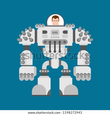 Battle robot Exoskeleton. Cyborg warrior future. Vector illustration