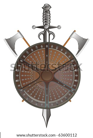 battle shield with axes and