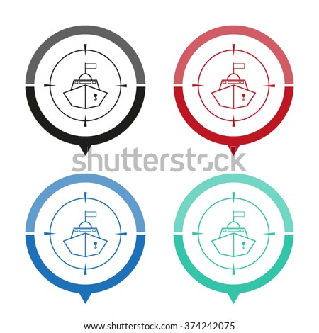 battle ship   vector icon  map