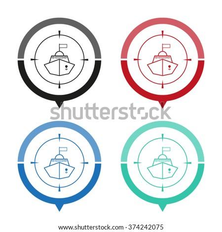 battle ship   vector icon  map