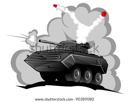 battle tank in action vector 2