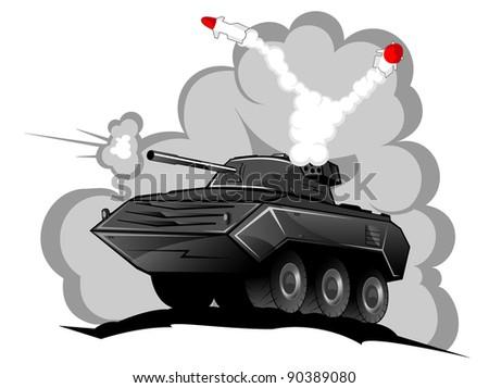 battle tank in action vector 2