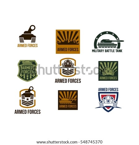 battle tank logo design template