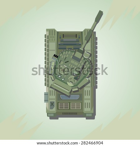 battle tank top view vector